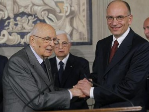 ITALIAN PRIME MINISTER ENRICO LETTA ANNOUNCES HIS NEW GOVERNMENT